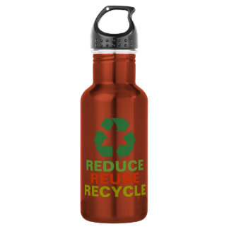 Reduce Reuse Recycle Aluminum 18oz Water Bottle