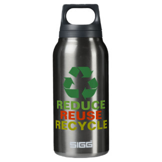 Reduce Reuse Recycle Aluminum 10 Oz Insulated SIGG Thermos Water Bottle