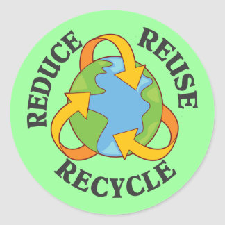Reduce Reuse Recycle Classic Round Sticker