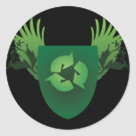 Reduce Reuse Recycle Crest Round Stickers