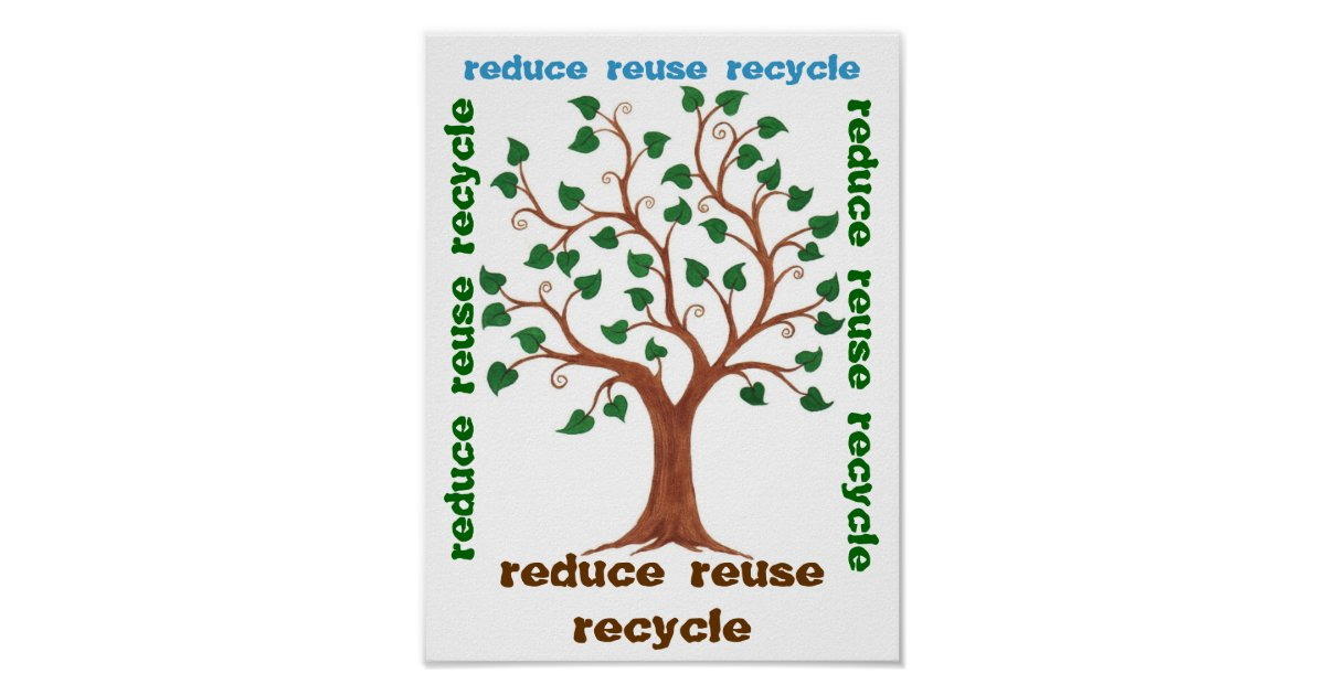 reduce reuse recycle   customizable poster zazzle