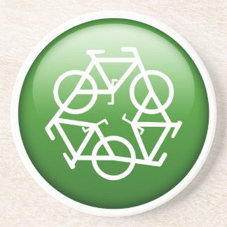 Reduce Reuse Recycle Green Bicycle Drink Coaster