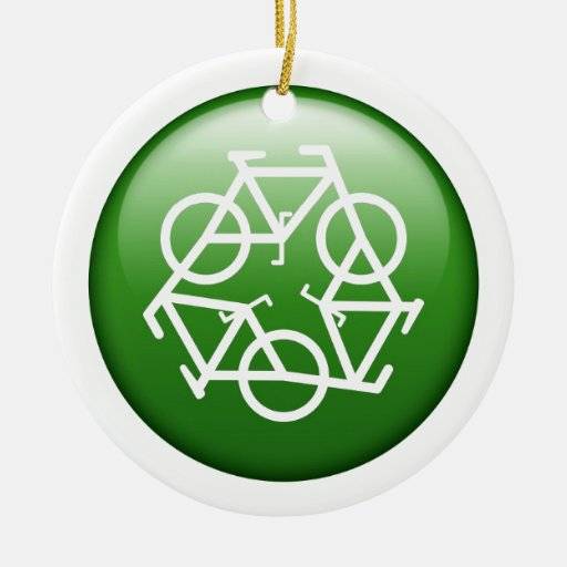 Reduce Reuse Recycle Green Bicycle Christmas Tree Ornaments