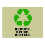 Reduce, Reuse, Recycle - Green Living Postcards