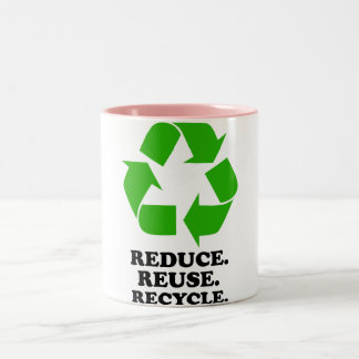 Reduce, Reuse, Recycle - Green Living Two-Tone Coffee Mug