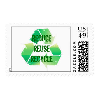 Reduce Reuse Recycle Postage Stamp