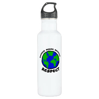 Reduce Reuse Recycle Respect Stainless Steel Water Bottle