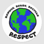 Reduce, Reuse, Recycle, Respect Stickers