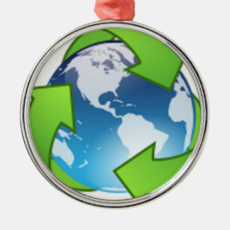 Reduce Reuse Recycle Save the Earth Day Metal Ornament