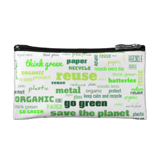 Reduce, Reuse, Recycle Word Cloud Makeup Bag