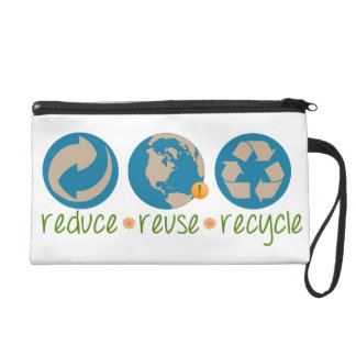 Reduce, Reuse, Recycle Wristlet Purse