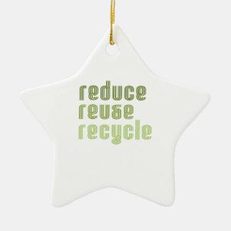 Reduce Reuse Recyle Ceramic Ornament