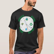 Reduce Reuse Repeat Recycle Environmental Clock T-Shirt