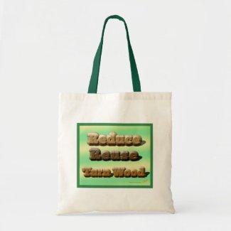 Reduce, Reuse, Turn Wood Woodturning Tote Bag bag