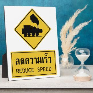 Reduce Speed Train Crossing, Sign, Thailand Plaque