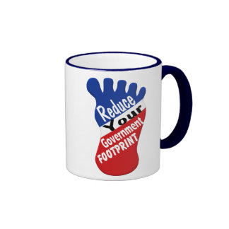 Reduce Your Government Footprint Funny Ringer Coffee Mug