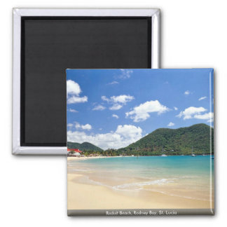 Reduit Beach, Rodney Bay, St. Lucia 2 Inch Square Magnet