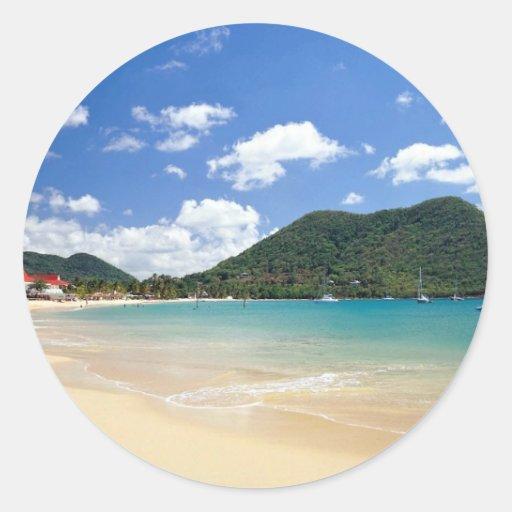 Reduit Beach, Rodney Bay, St. Lucia Round Stickers