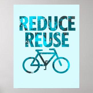 Reduzca la bicicleta de la reutilización póster