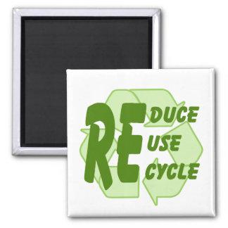 Reduzca la reutilización reciclan 2 imán cuadrado