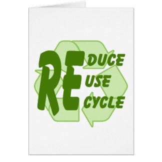 Reduzca la reutilización reciclan 2 tarjeta de felicitación