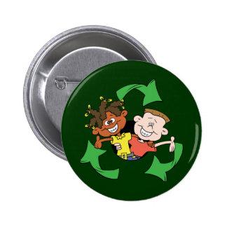 Reduzca la reutilización reciclan a niños pin