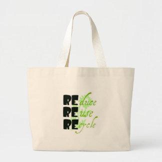 reduzca la reutilización reciclan bolsa tela grande