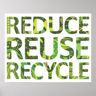 Reduzca la reutilización reciclan el poster verde