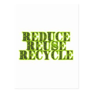 Reduzca la reutilización reciclan el vintage que postales