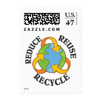 Reduzca la reutilización reciclan estampillas