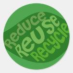 Reduzca la reutilización reciclan etiqueta redonda