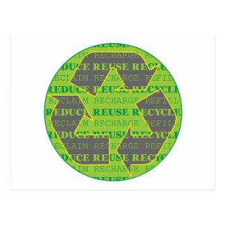 Reduzca la reutilización reciclan hoy tarjetas postales