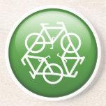 Reduzca la reutilización reciclan la bicicleta ver posavasos personalizados