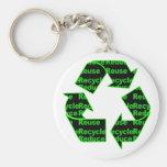reduzca la reutilización reciclan llavero personalizado