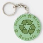 Reduzca la reutilización reciclan llaveros personalizados