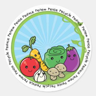 Reduzca la reutilización reciclan los Veggies Pegatina Redonda