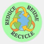 Reduzca la reutilización reciclan etiquetas redondas
