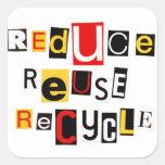 Reduzca la reutilización reciclan calcomanía cuadradas personalizadas