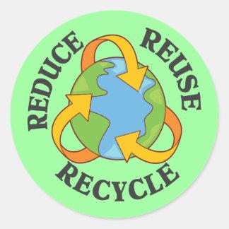 Reduzca la reutilización reciclan pegatina redonda