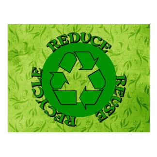 Reduzca la reutilización reciclan postal