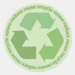 Reduzca la reutilización reciclan renuevan a los etiqueta redonda