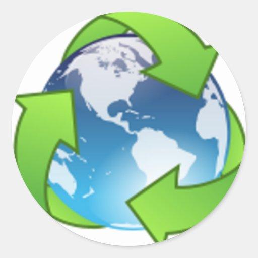 Reduzca la reutilización reciclan reserva el Día Pegatina Redonda