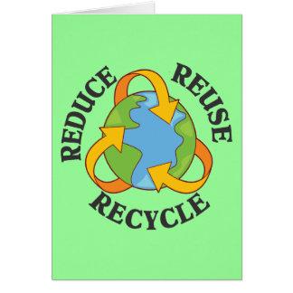 Reduzca la reutilización reciclan tarjeta pequeña