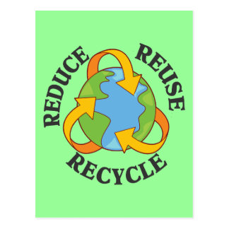Reduzca la reutilización reciclan tarjeta postal