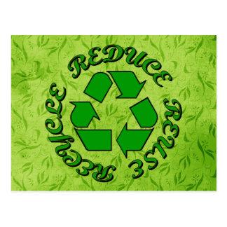 Reduzca la reutilización reciclan tarjetas postales