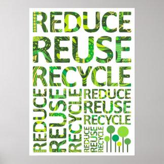 Reduzca la reutilización reciclan van poster verde