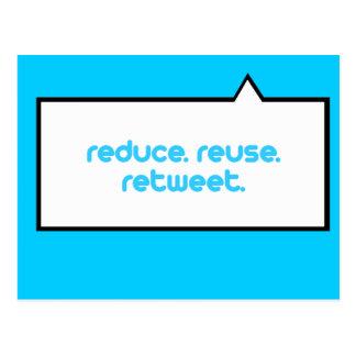 Reduzca la reutilización Retweet Tarjetas Postales