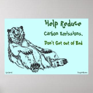 Reduzca las emisiones de carbono - poster del oso