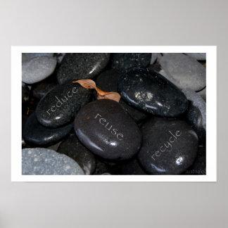 reduzca las rocas del recyle de la reutilización poster