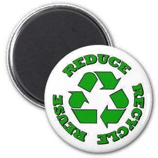 Reduzca reciclan la reutilización imán redondo 5 cm